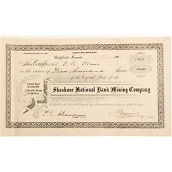 Shoshone National Bank Mining Company Stock Certificate