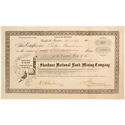 Shoshone National Bank Mining Rare Certificate