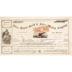 Rose Quartz Gold & Silver Mining Co. Stock Certificate, Eagle & Washoe Valley Dist. Nevada Territory