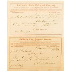 Two Telegrams (one territorial) about Comstock Mining