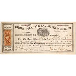Golden Horn Gold & Silver Mining Co. Stock Certificate, Gold Hill, Nevada Territory