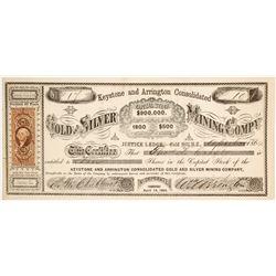 Keystone & Arrington Cons. Mining Co. Stock Certificate, Gold Hill, Nevada Territory