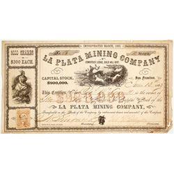 La Plata Mining Company Stock Certificate, Gold Hill, Nevada Territory