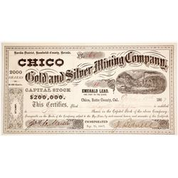 Chico Gold & Silver Mining Co. Stock Certificate Signed by California Pioneer John Bidwell