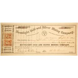 Moonlight Gold & Silver Mining Co. Stock Certificate, Indian District, Nevada Territory
