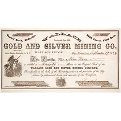 Wallace Gold & Silver Mining Co. Stock Certificate, Indian District, Nevada Territory, 1863