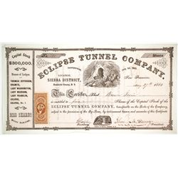 Eclipse Tunnel Company Stock Certificate, Sierra District, Nevada Territory