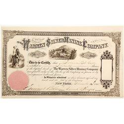 Warren Silver Mining Company Stock Certificate, La Plata, Churchill County, Nevada