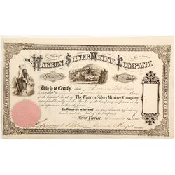 Warren Silver Mining Company Stock Certificate, La Plata, Churchill County, Nevada
