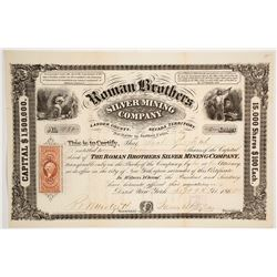 Roman Brothers Silver Mining Co. Stock Certificate, Austin, 1865