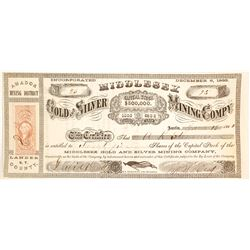 Middlesex Gold & Silver Mining Co. Territorial Stock Certificate Signed by David Buell