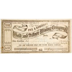 Fox & Robinson Gold & Silver Mining Co. Stock Certificate, Lander County, Nevada Territory, 1864