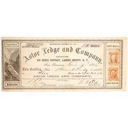 Astor Ledge & Company Stock Certificate, Big Creek, Nevada Territory, 1864