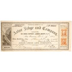 Astor Ledge & Company Stock Certificate, Big Creek, Nevada Territory, 1864
