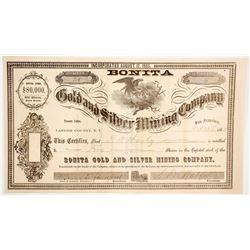 Bonita Gold & Silver Mining Co. Stock Certificate, Lander County, Nevada Territory, 1863