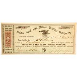 Delta Gold & Silver Mining Co. Stock Certificate, Lander Co., Nevada Territory, 1863