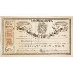 Henrietta Gold & Silver Mining Co. Stock Certificate, Lander County, Nevada Territory