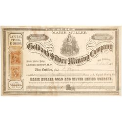 Marie Muller Gold & Silver Mining Co. Stock Certificate, Lander Co., Nevada Territory, 1863