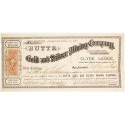 Butte Gold & Silver Mining Co. Stock Certificate, Reese River, Nevada Territory