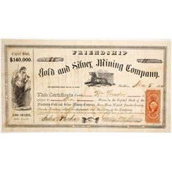 Friendship Gold & Silver Mining Co. Stock Certificate, Reese River, Nevada Territory