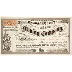 Massachusetts Gold & Silver Mining Co. Stock Certificate, Reese River, Nevada Territory, 1864