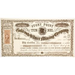 Stony Point Tunnel Gold & Silver Mining Co. Stock Certificate, Lander County, Nevada Territory, 1864