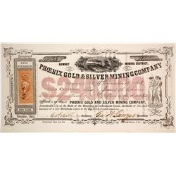 Phoenix Gold & Silver Mining Co. Stock Certificate, Summit District, Nevada Territory