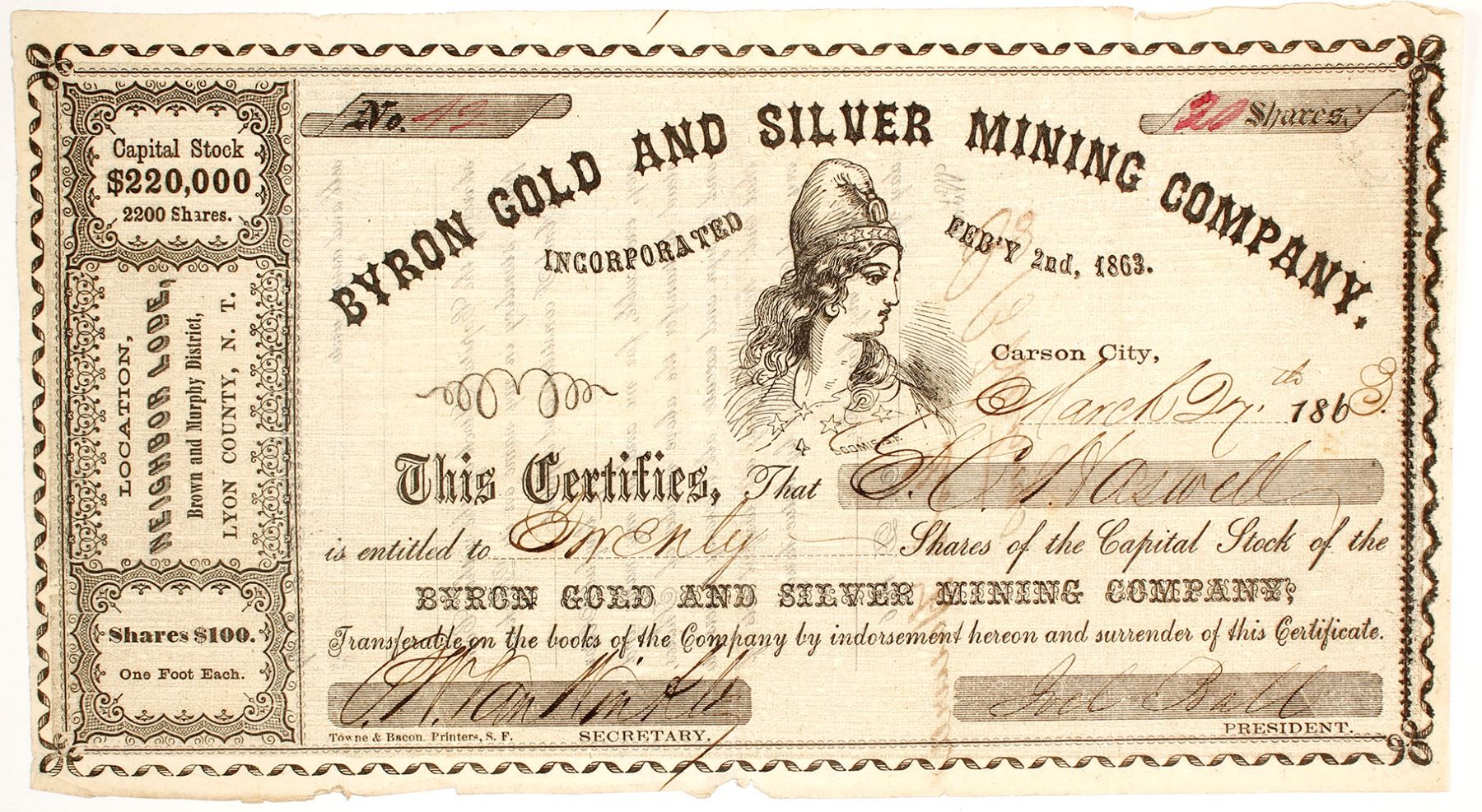 Byron Gold & Silver Mining Co  Stock Certificate, Brown & Murphy District,  Nevada Territory