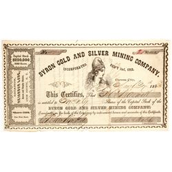 Byron Gold & Silver Mining Co. Stock Certificate, Brown & Murphy District, Nevada Territory