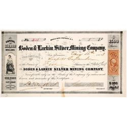 Boden & Larkin Silver Mining Co. Stock Certificate, Devil's Gate, Nevada Territory