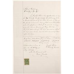 Nye County, Nevada Revenue Stamped Ore Document, 1867