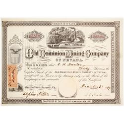 Old Dominion Mining Co. of Nevada Stock Certificate, Hot Creek, NV, 1867