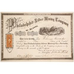 Philadelphia Silver Mining Co. of Nevada Stock Certificate, Belmont, Nevada 1866
