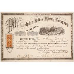 Philadelphia Silver Mining Co. of Nevada Stock Certificate, Belmont, Nevada 1866