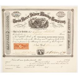 Twin River Silver Mining Co. Stock Certificate, Ophir Canon, Nye County, Nevada 1868