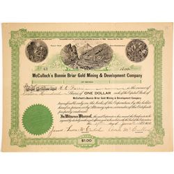 McCulloch's Bonnie Briar Gold Mining and Development Co. Stock Certificate