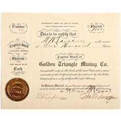 Golden Triangle Mining Company Stock Certificate, Rosebud, Nevada
