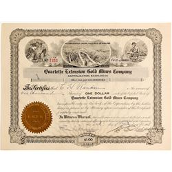 Quartette Extension Gold Mines Company Stock Certificate