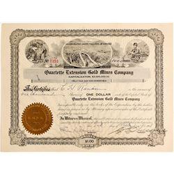 Quartette Extension Gold Mines Company Stock Certificate