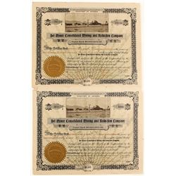 Two Del Monte Consolidated Mining & Reduction Co. Stocks with Photo Vignette