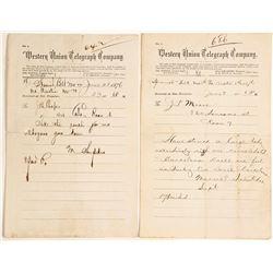 Two Telegrams from Spanish Belt, Nevada 1876
