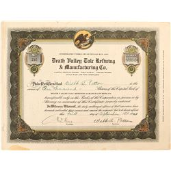 Death Valley Talc Refining & Manufacturing Co. Stock Certificate