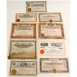 Ten Different Tonopah Mining Stock Certificates