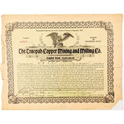 The Tonopah Copper Mining and Milling Co. Stock Certificate