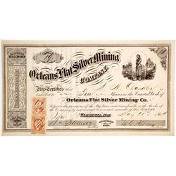 Orleans Flat Silver Mining Co. Stock Certificate, Nevada Territory, to Pyramid Lake War Survivor