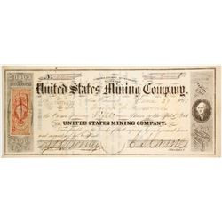 United States Mining Co. Stock Certificate, Storey County, Nevada Territory, 1863