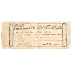Philadelphia Mining Company; 1861 Nevada Territorial Stock Certificate