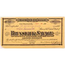 Brunswick Savage Mining Company Stock Certificate