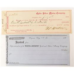 Early Virginia City Receipts