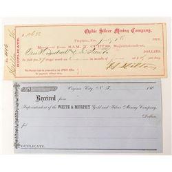 Early Virginia City Receipts